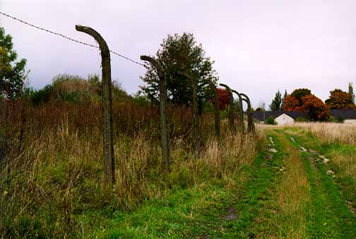 Fence around the former Plaszow camp, which has been torn down