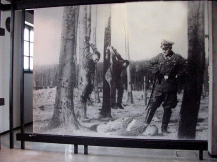 "Still photo from a Soviet film shows ""pole-hanging"" punishment"