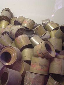 Empty cans that had been used to hold Zylon-B poison gas pellets