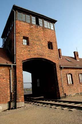 The gate of death at Auschwitz-Birkenau