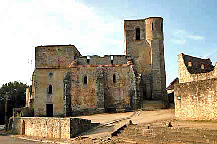 The front of the ruined church in Oradour-sur-Glane