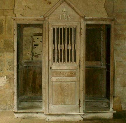 Confessional inside the Oradour-sur-Glane did not burn