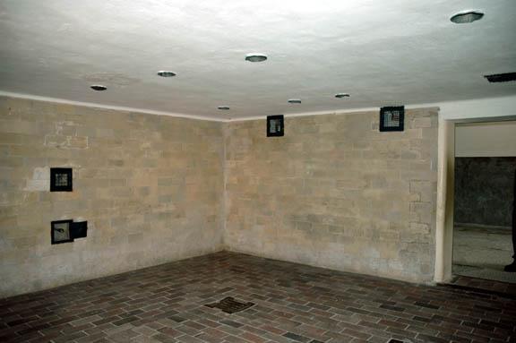 The Dachau gas chamber had walls made of glazed brick.