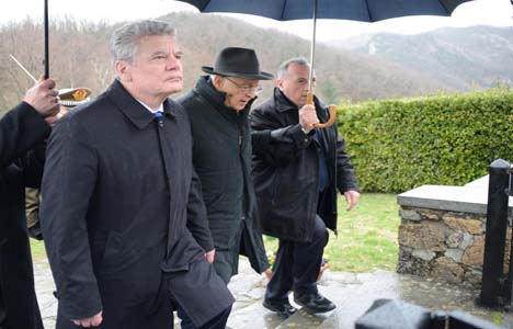 President of Germany on a recent visit to Oradour-sur-Glane
