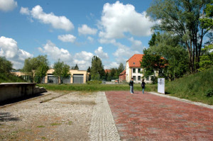 """brick path"" leads to the Dachau concentration camp from the SS garrison"
