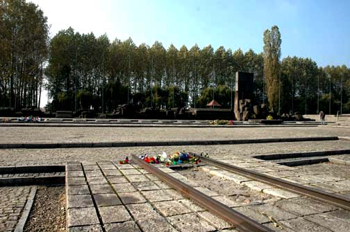 The end of the train tracks at Birkenau is close to the ruins of Krema II and Krema III