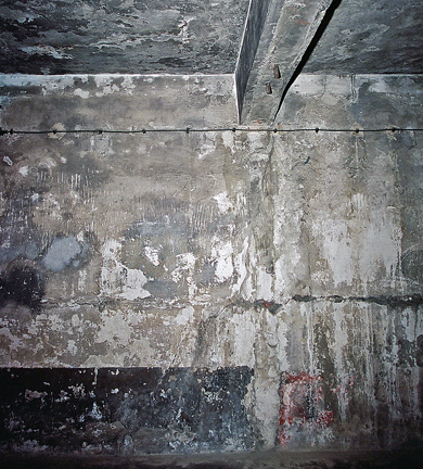 Scratches on the wall of the gas chamber in the main Auschwitz camp