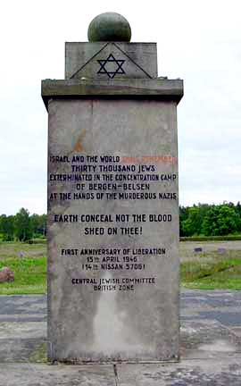 Monument at Bergen-Belsen Memorial Site in honor of the Jews who died there