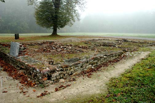 "Reconstructed ruins of ""the little white house where Edith Stein allegedly was gassed"
