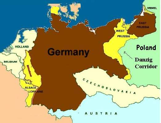 Map of Germany after World War I