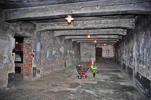 Wiring and light fixtures in the Auschwitz gas chamber