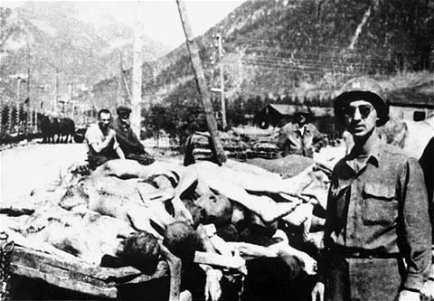 Dunst was on a pile of corspes at Ebensee when he was resuced