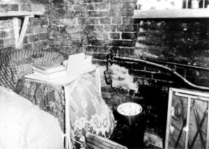 An underground room where the ghetto fighters his from the SS soldiers