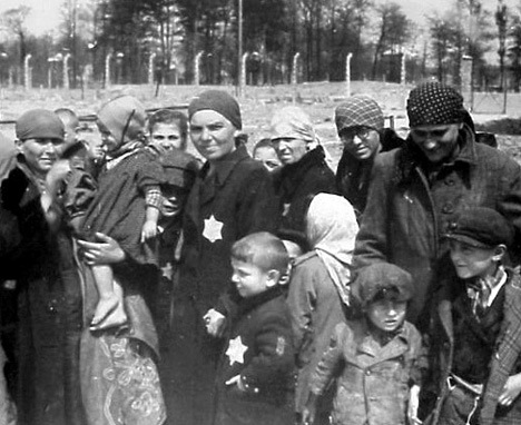 Hungarian Jews headed toward the Sauna at Auschwitz-Birkenau