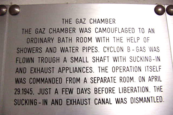 Sign on the wall of the Mauthausen gas chamber explains how th gassing apparatus worked