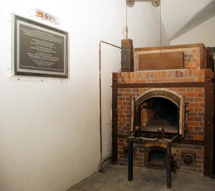 Plaque on wall of Dachau crematorium in honor of 4  British SOE agents