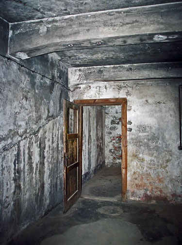 Door into Auschwitz gas chamber opens inward