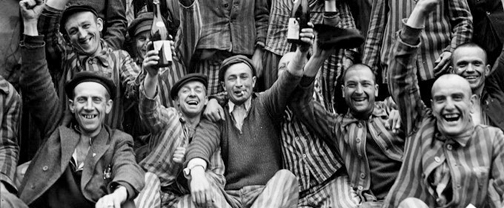 Dachau prisoners celebrate their liberation from Dachau