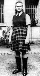 Irma Grese, a notorious guard at Auschwitz and Bergen-Belsen