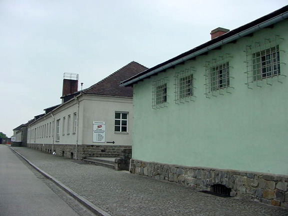 The white building in the photo is the camp hospital