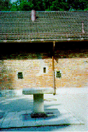 Harry Mazal's photo of the exhaust pipe on the roof of the Dachau gas chamber