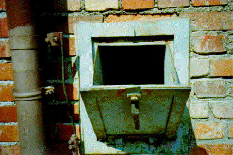 """photo 39 on Harry Hazal's website shows the """"drawer-like bins"""" used to put the gas pellets into the Dachau gas chamber"""