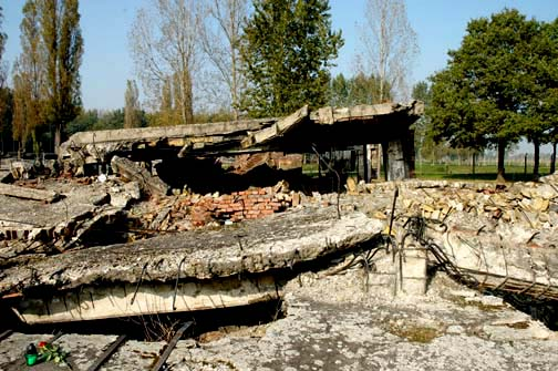Ruins of the oven room in Krema II at Auschwitz-Birkenau