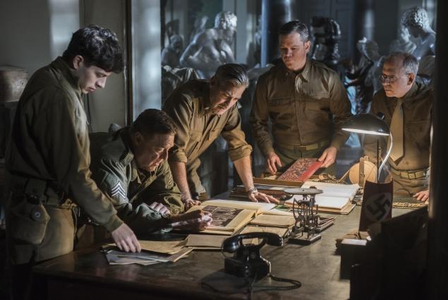 "From left, Dimitri Leonidas, John Goodman, George Clooney, Matt Damon and Bob Balaban in ""The Monuments Men"""