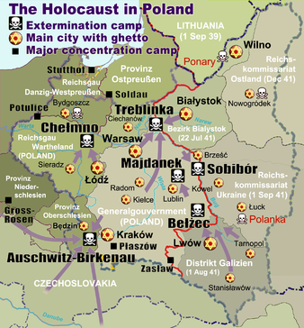 Map of Nazi extermination camps