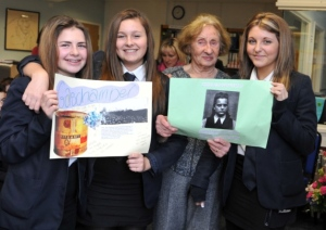 British students pose with Holocaust survivor Susan Pollack
