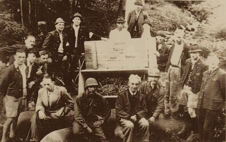 Workers at the Altausee salt mine where the Ghent Alterpiece was stored