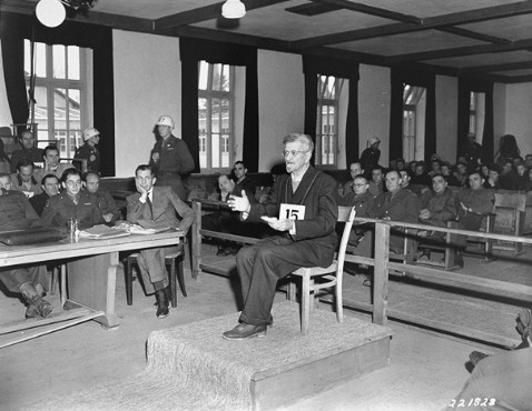 Dr. Klaus Schilling on the witness stand at his trial