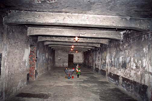 Gas chamber in main Auschwitz camp, looking toward the wooden door that was added later