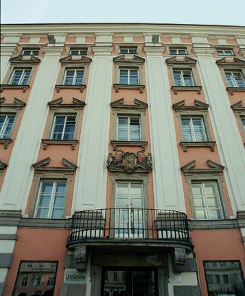 Balcony on city hall in Linz Austria