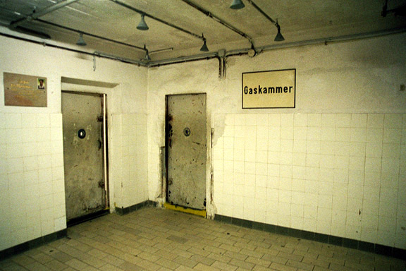 The gas chamber at Mauthausen had tiled walls