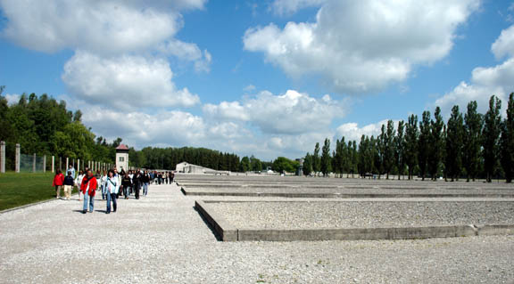 Students on a tour of the former Dachau concentration camp
