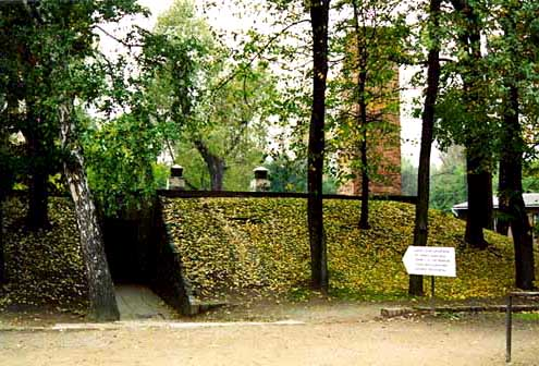 Brick chimney is located next to the alleged gas chamber at the Auschwitz main camp
