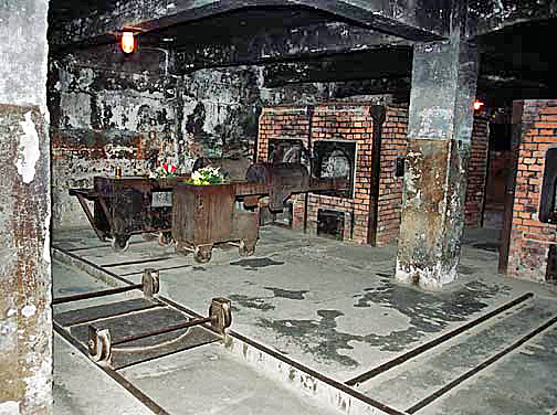 Bodies of dead Jews were put onto a trolley before being shoved into the ovens at Auschwitz