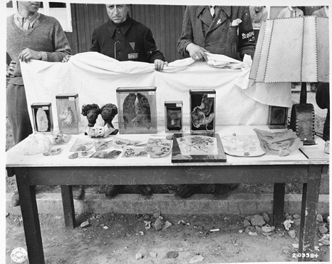 Display table put up at Buchenwald for the benefit of American soldiers who were brought to see the camp