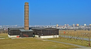Reconstructed crematorium at Majdanek, with the city of Lublin in the background Photo Credit: José Ángel