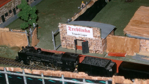 A model of the fake train station at Treblinka