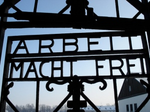 Entrance gate into Dachau concentration camp