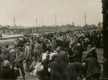 Prisoners arriving at Auschwitz-Birkenau