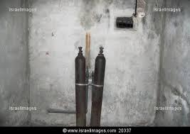 Two cylinders inside the Majdanek gas chamber