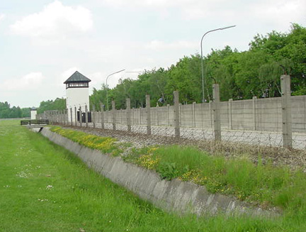 Wall around Dachau camp where German soldiers were killed