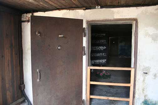 The entrance to one of the gas chambers at Majdeank was through this air raid shelter door