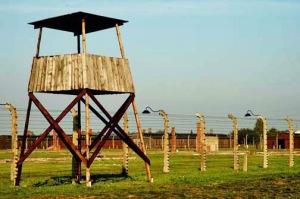 Wooden guard tower at Auschwitz Birkenau