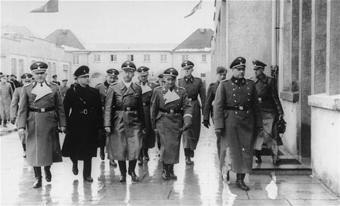 Heinrich Himmler on a visit  to the Dachau camp