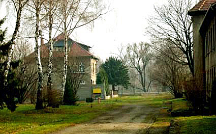 The rear of the house where Rudolf Hoess lived was just down the street from the gas chamber