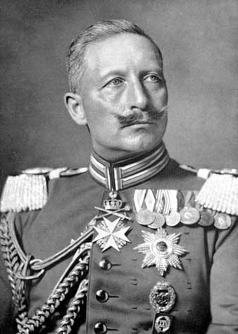 Kaiser Wilheim shown with a handlebar mustache which he was forced to change